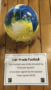 Here's a signed football from Ipswich Town Football club and presented to Saint Matthew's School.